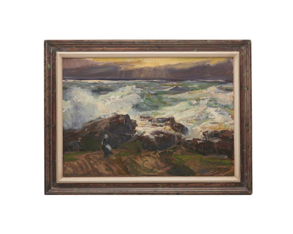 JAY CONNAWAY, (American, 1893-1970), Sunset Sea - Lobster Cove, oil on board, 14 x 20 in., frame: 17 3/4 x 23 3/4 in.