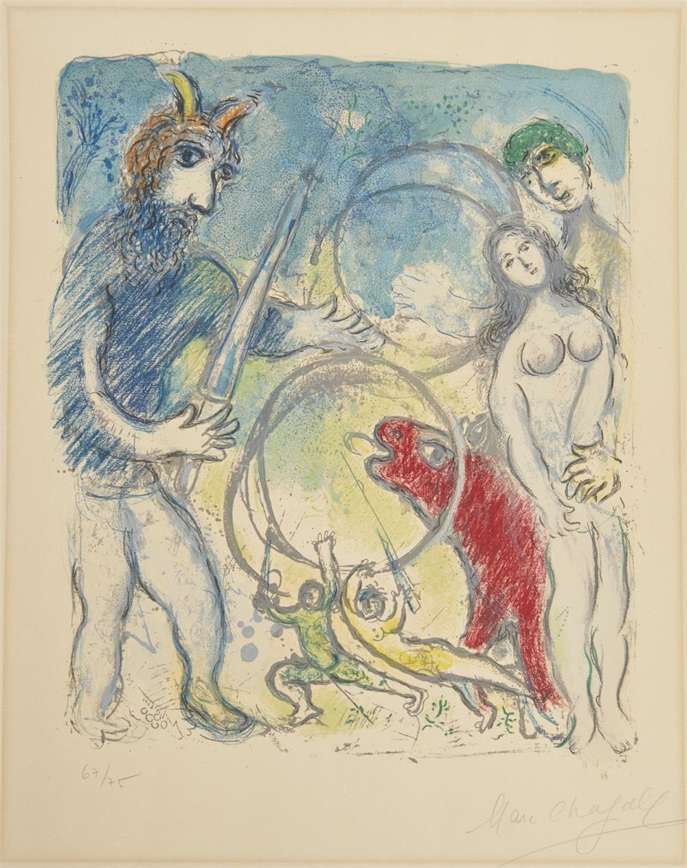 MARC CHAGALL, (French, 1887-1985), A la femme, qu'est-il rest..., from the series Sur la terre des dieux (In the land of the gods), lithograph on Arches paper, sheet: 25 1/2 x 19 1/2 in.