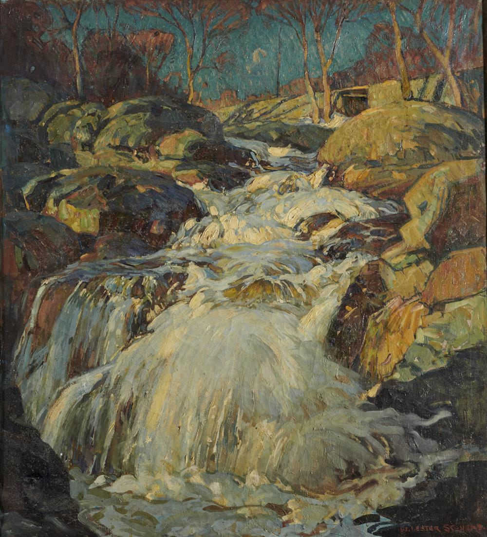 WILLIAM LESTER STEVENS, (American, 1888-1969), Waterfall, oil on canvas, 40 1/2 x 36 1/2 in., frame: 45 x 41 in.