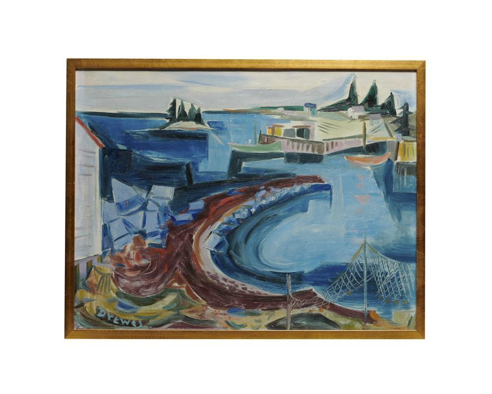 WERNER DREWES, (German/American, 1899-1985), Maine Harbor, 1953, oil on canvas, 23 x 30 in., frame: 24 1/2 x 31 1/2 in.