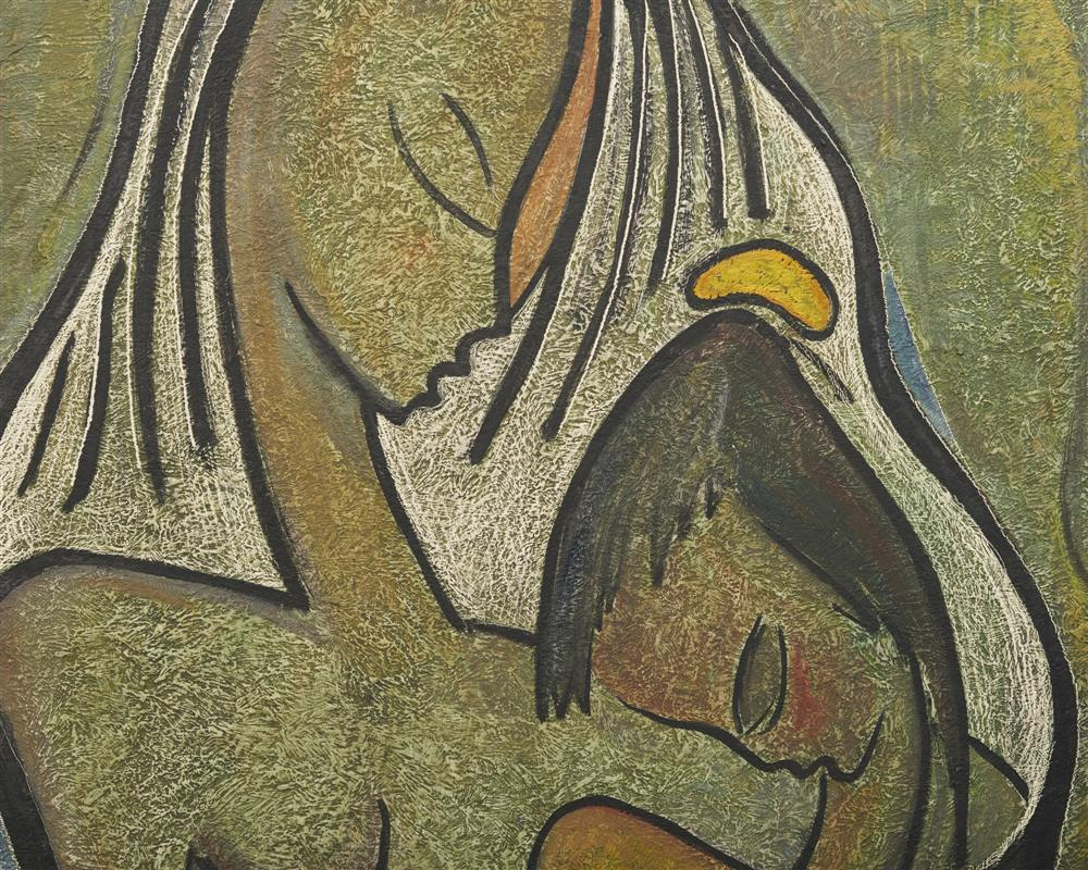 ANGEL BOTELLO, (Puerto Rican, 1913-1986), Mother and Child, oil on masonite, 30 x 24 in., frame: 36 1/2 x 41 1/2 in.