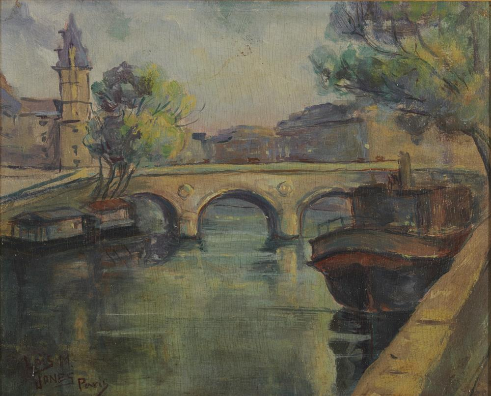 LOIS MAILOU JONES, (American, 1905-1998), Paris View, oil on panel, 8 x 10 in., frame: 10 x 12 in.