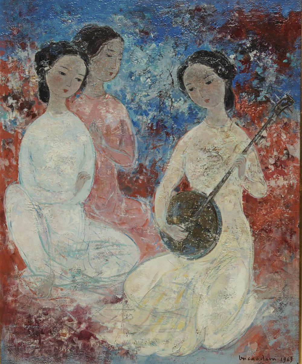 VU CAO DAM, (French, 1908-2000), Les Musiciennes, 1963, oil on canvas, 28 3/4 x 23 5/8 in., frame: 36 1/2 x 31 1/2 in.