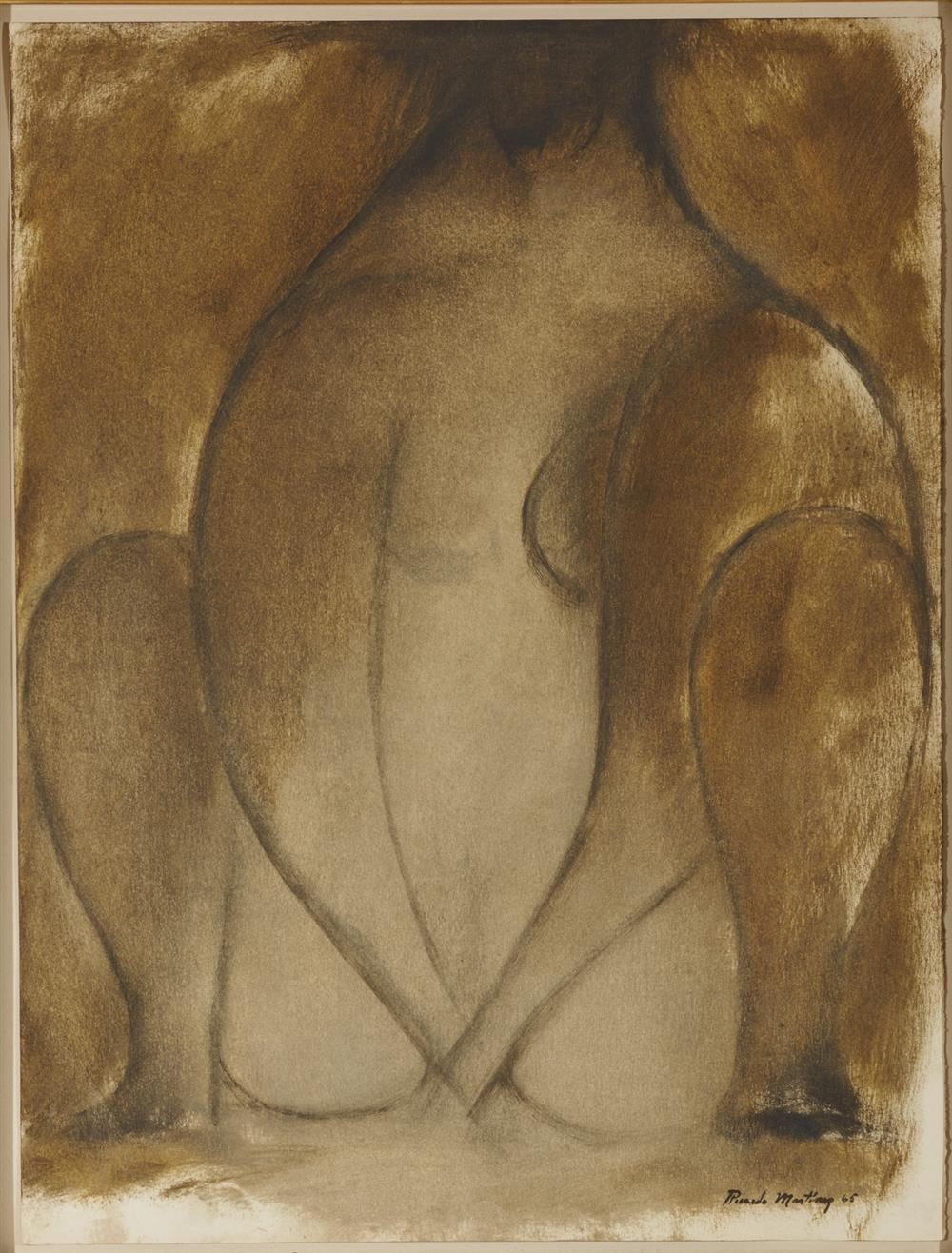 RICARDO MARTINEZ, (Mexican, 1918-2009), Seated Woman #1, 1965, oil on paper, sheet: 22 3/4 x 17 3/8 in., frame: 29 1/2 x 24 in.
