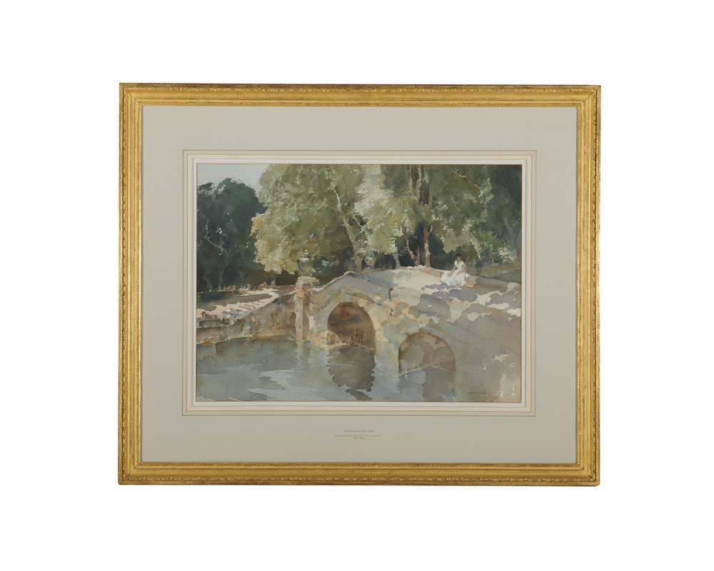 SIR WILLIAM RUSSELL FLINT, (Scottish, 1880-1969), Chateauneuf-sur-Loire, 1963, watercolor, sheet: 20 1/4 x 27 1/4 in., frame: 32 1/2 x 39 in.