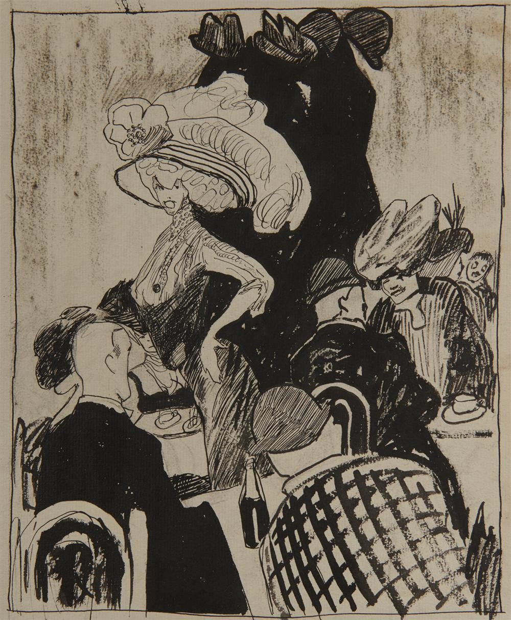 Attributed to JULIA FEININGER, (German, 1880-1970), Untitled (Cafe Scene), ink on paper, 9 3/4 x 7 7/8 in.