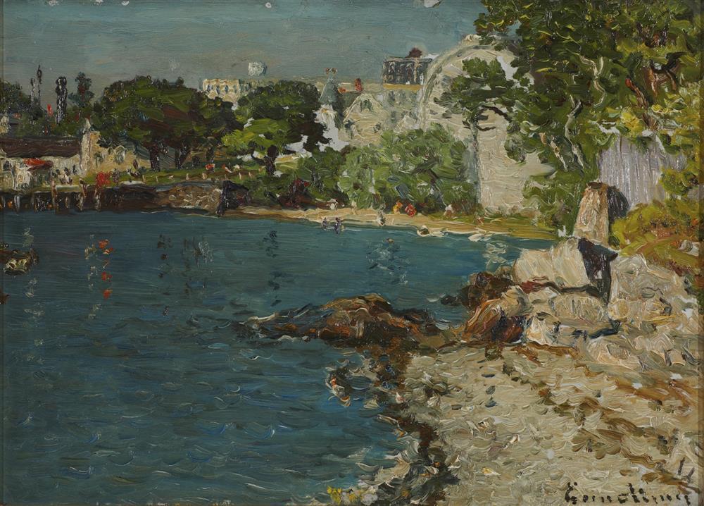 JOHN JOSEPH ENNEKING, (American, 1841-1916), Coast of Spain, oil on board, 10 x 13 3/4 in., frame: 15 x 18 1/2 in.