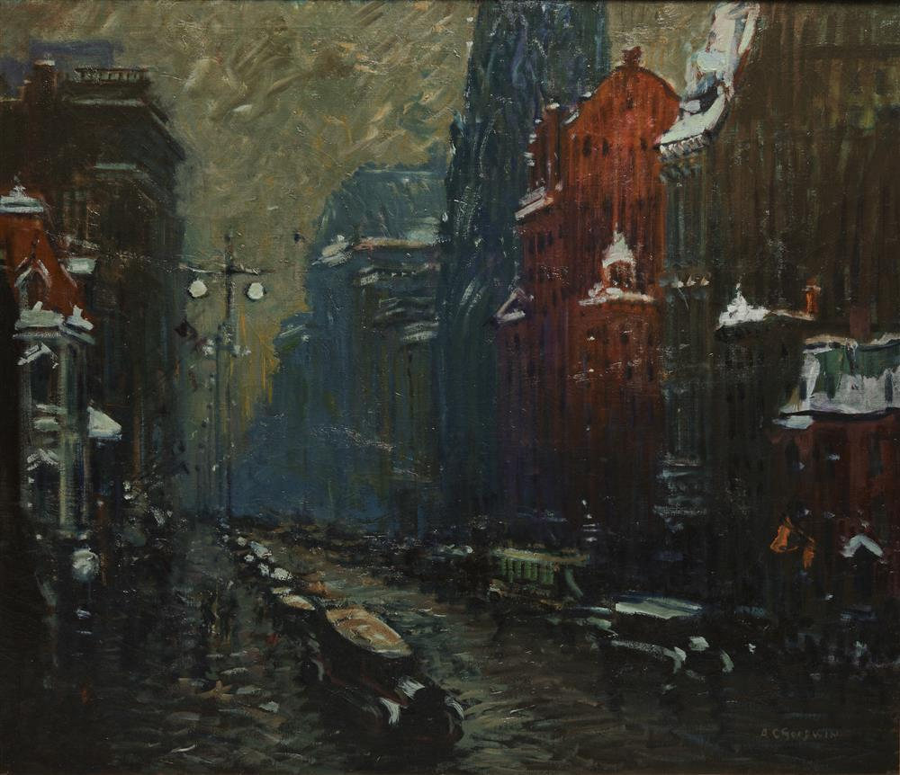ARTHUR CLIFTON GOODWIN, (American, 1864-1929), Fifth Avenue, New York, Near St. Patrick's, oil on canvas, 38 x 44 in., frame: 44 x 50 in.