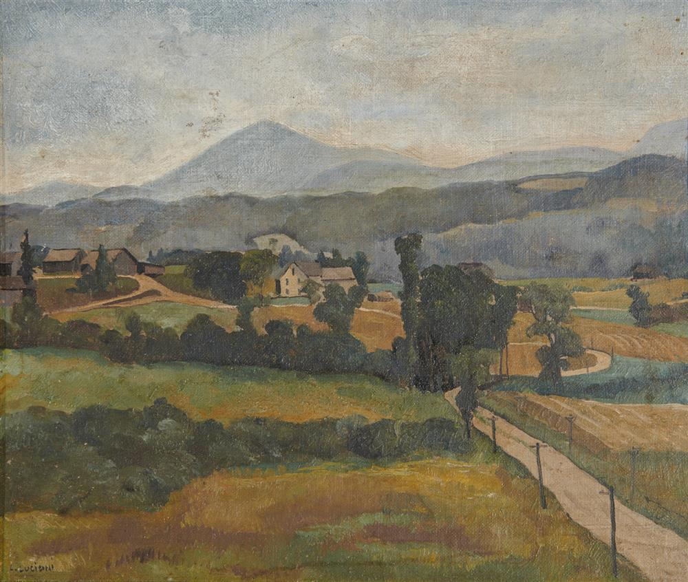 LUIGI LUCIONI, (American, 1900-1988), Vermont Landscape, oil on canvas laid on board, 10 x 11 3/4 in., frame: 13 x 15 in.