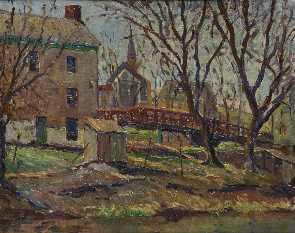 ARTHUR CLIFTON GOODWIN, (American, 1864-1929), New Britain, oil on canvasboard, 16 x 20 in., frame: 21 1/2 x 25 1/2 in.