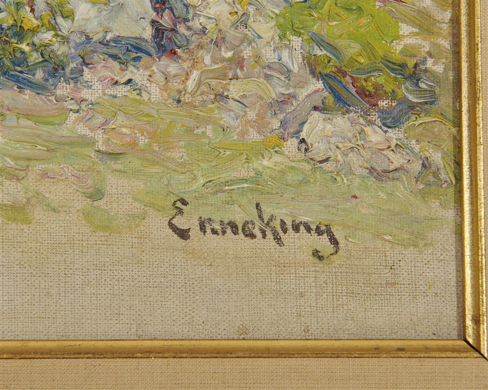 JOHN JOSEPH ENNEKING, (American, 1841-1916), Garden, oil on canvasboard, 10 x 14 in., frame: 15 1/4 x 19 1/4 in.