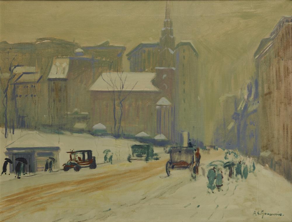 ARTHUR CLIFTON GOODWIN, (American, 1864-1929), Park Street Church, 1928, oil on canvas, 20 x 26 in., frame: 27 x 33 in.