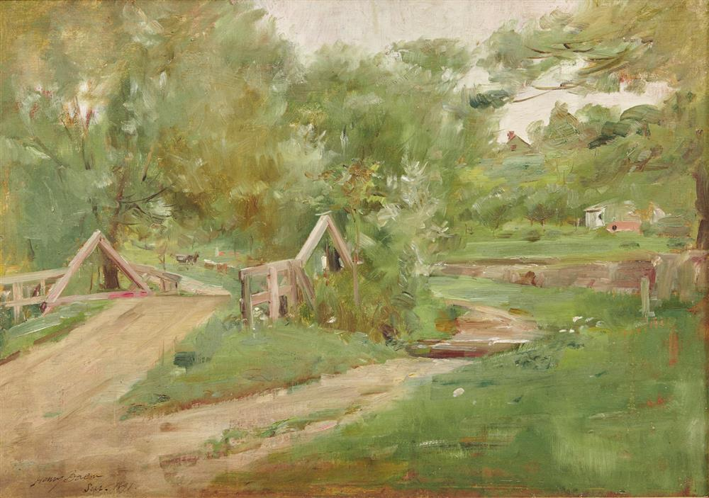 HENRY BACON, (American, 1839-1921), Rural View, 1891, oil on canvas, 13 x 18 in., frame: 21 3/4 x 27 1/4 in.