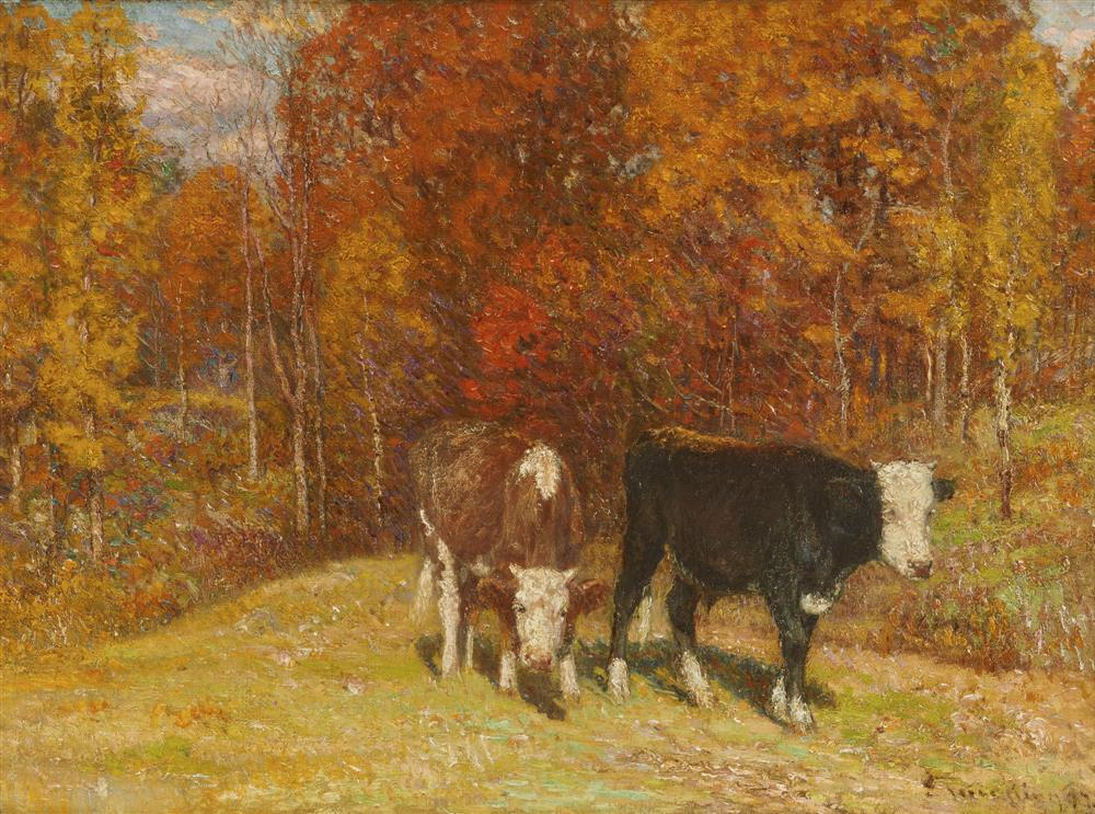 JOHN JOSEPH ENNEKING, (American, 1841-1916), Fall Landscape with Two Cows, oil on canvas, 21 3/4 x 29 3/4 in., frame: 27 1/2 x 35 1/2 in.