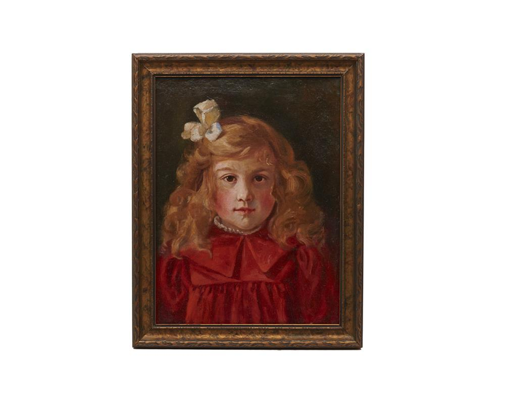 Attributed to JOHN JOSEPH ENNEKING, (American, 1841-1916), Portrait of a Girl in Red, oil on canvas, 16 x 12 in., frame: 18 5/8 x 14 5/8 in.