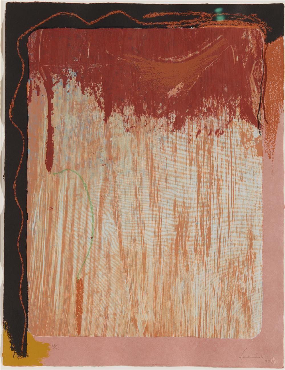 HELEN FRANKENTHALER, (American, 1928-2011), Tribal Sign, 1987, lithograph, sheet: 24 x 18 1/2 in., frame: 36 x 30 in.