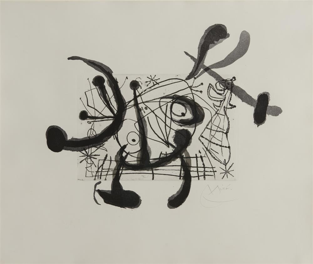 JOAN MIRO, (Spanish, 1893-1983), Untitled, from Fissures, lithograph, sheet: 19 x 22 1/2 in., frame: 32 1/2 x 36 in.
