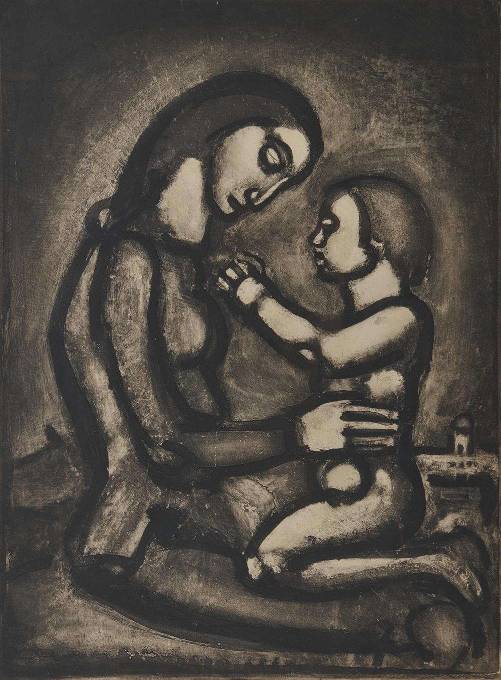 GEORGES ROUAULT, (French, 1871-1958), Il serait si doux d'aimer!, aquatint, plate: 22 7/8 x 17 3/8 in., frame: 34 1/2 x 28 1/2 in.