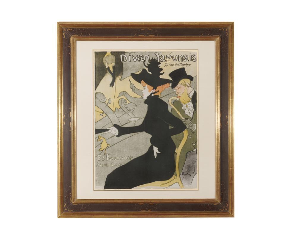 HENRI de TOULOUSE-LAUTREC, (French, 1864-1901), Divan Japonais, lithograph in colors on wove paper, image: 31 5/8 x 23 1/2 in., frame: 45 x 41 in.