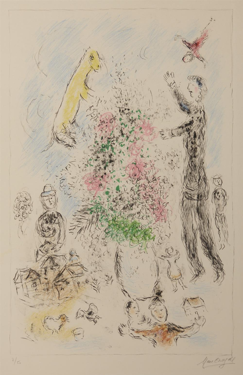MARC CHAGALL, (French, 1887-1985), Les Lilas (M. 975), lithograph, sight: 36 x 23 in., frame: 55 x 41 in.