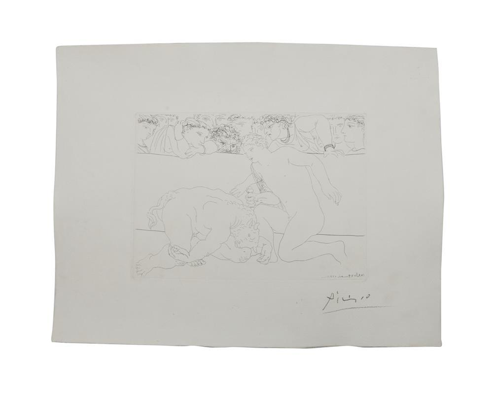 PABLO PICASSO, (Spanish, 1881-1973), Minotaure vanicu, from La Suite Vollard (B. 197), etching on laid paper with Picasso watermark, plate: 7 3/8 x 10 3/8 in., sheet: 13 5/16 x 7 1/4 in.