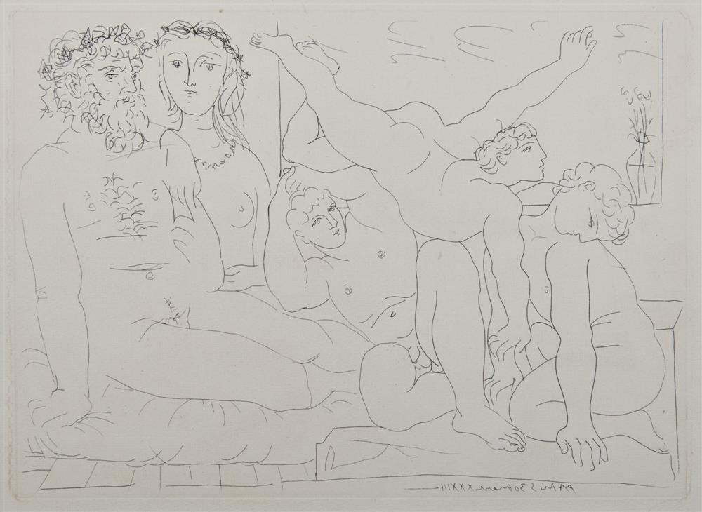 PABLO PICASSO, (Spanish, 1881-1973), Famille de saltimbanques, from La Suite Vollard (B. 163), etching on laid paper with Picasso watermark, plate: 7 1/2 x 10 3/8 in., sheet: 13 3/8 x 17 1/4 in.