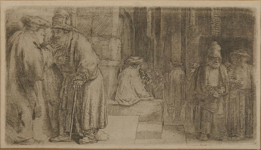 REMBRANDT VAN RIJN, (Dutch, 1606-1669), Jews in a Synagogue, etching, sheet: 3 3/8 x 5 5/8 in. (trimmed), frame: 8 1/2 x 10 1/2 in.