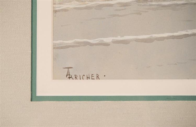 ALFRED THOMPSON BRICHER, (American, 1837-1908), NEW ENGLAND BEACH SCENE, watercolor, sight: 14 1/2 x 20 1/2 in. (26 x 32 in.)