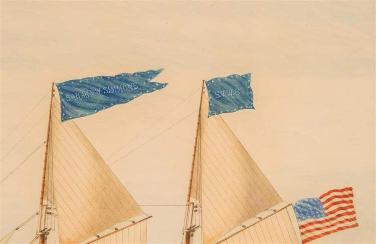 CHARLES B. LAWRENCE, (American, 1790-1864), THE SCHOONER SARAH V.W. SIMMONS AT SEA, 1889, watercolor, sight: 22 1/2 x 32 3/4 in. (30...
