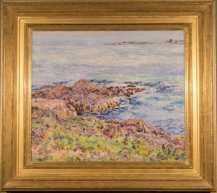 LOUISE SNOW, (American, 1890-1982), ROCKY COASTAL SEASCAPE, oil on canvas, 24 x 28 in. (34 x 38 in.)