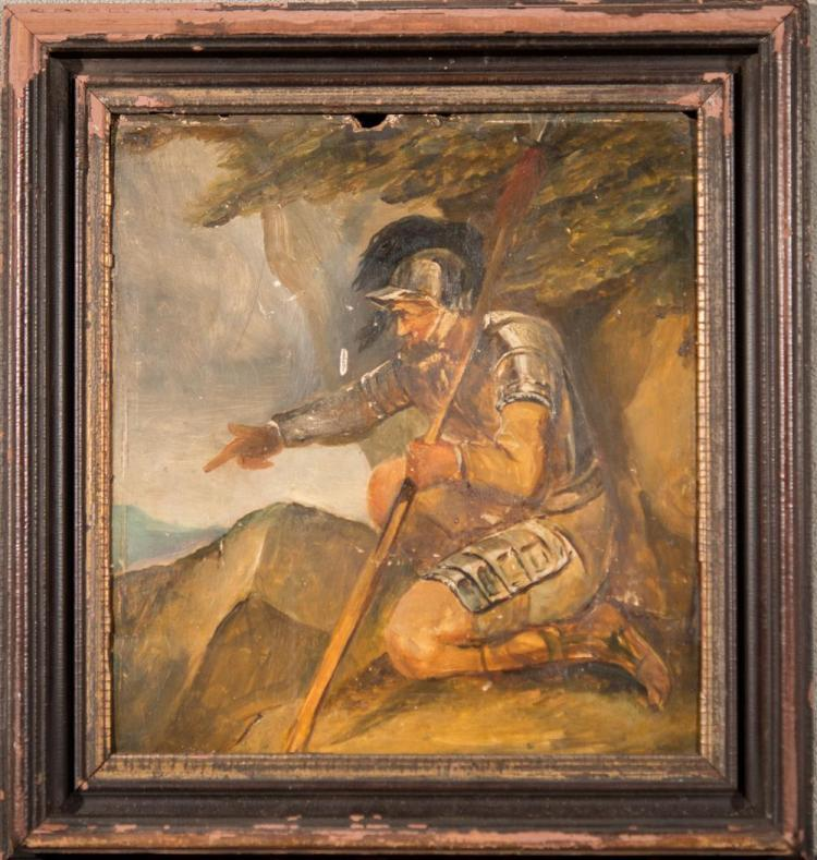 ATTRIBUTED TO JOHN HAMILTON MORTIMER, (British, 1740-1779), A GESTURING BANDIT, oil on wooden panel, 11 1/2 x 10 1/2 in. (15 x 14 in...