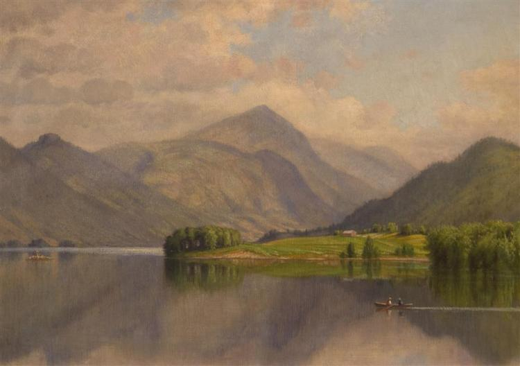 GEORGE EDWARD CANDEE, (American, 1837-1907), BLACK MOUNTAIN, LAKE GEORGE, oil on canvas, 14 1/2 x 20 in. (21 x 27 in.)