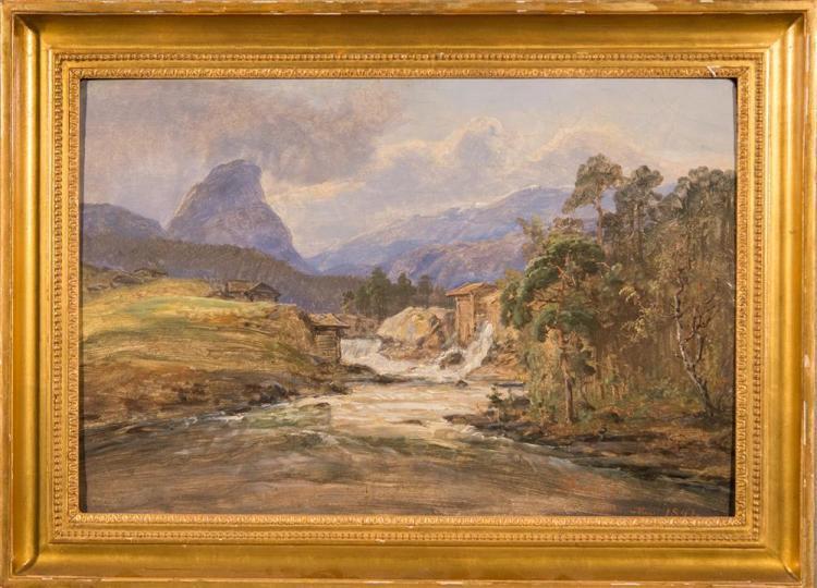 JOHAN CHRISTIAN DAHL, (Norwegian, 1788-1857), MOUNTAIN LANDSCAPE, 1847, oil on board, 14 1/2 x 21 1/2 in. (19 x 26 in.)