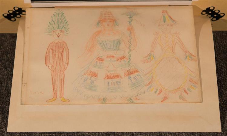 JAMES ENSOR, (Belgian, 1860-1949), LE SAPIN, LA MAISON DE NUREMBURG, colored pencil on paper, sight: 7 x 10 in. (15 x 18 in.)