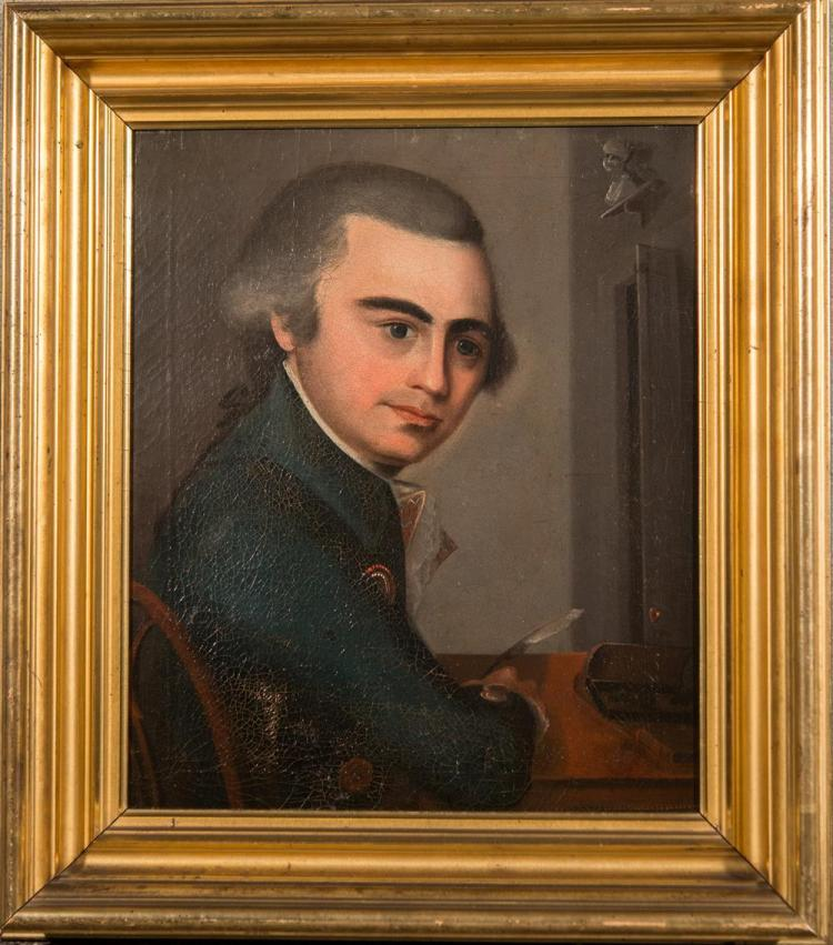 AMERICAN SCHOOL , (late 18th century), PORTRAIT OF MILES WARD, oil on canvas, 14 1/4 x 12 in. ( 18 1/2 x 16 1/2 in.)