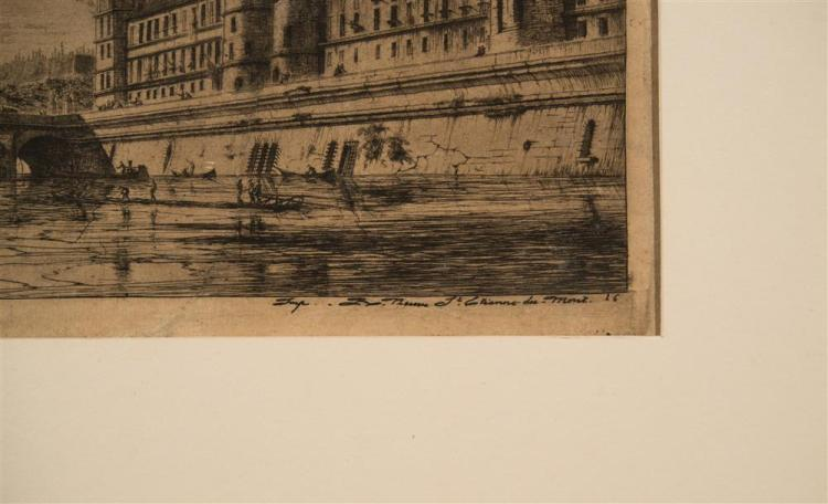 CHARLES MERYON, (French, 1821-1868), LE PONT AU CHANGE, PARIS, 1854, etching on paper, plate: 6 1/8 x 13 1/8 in. (sheet: 7 x 14 in.)