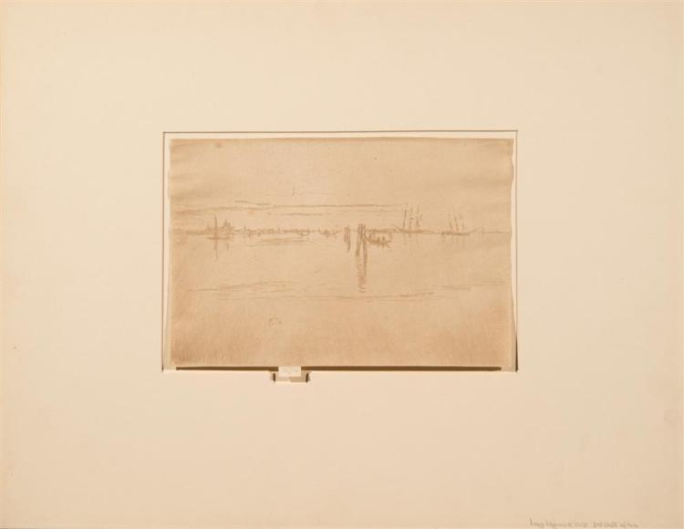 JAMES ABOTT MCNEILL WHISTLER, (American, 1834-1903), THE LONG LAGOON, etching and drypoint, plate: 6 x 8 7/8 in.
