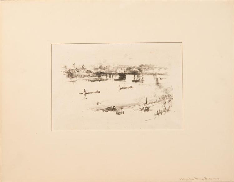 JAMES ABOTT MCNEILL WHISTLER, (American, 1834-1903), CHARING CROSS RAILWAY BRIDGE, 1896, lithograph, image: 5 1/8 x 8 1/2 in. (sheet...