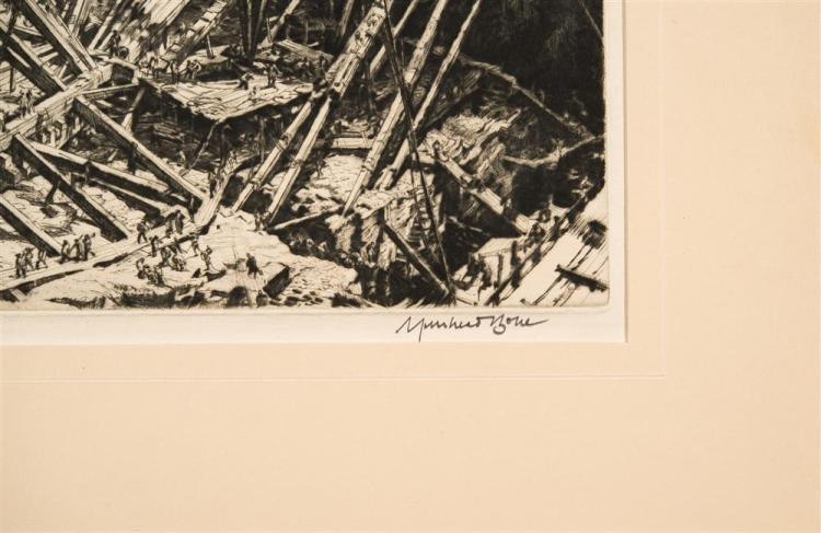 DAVID MUIRHEAD BONE, (British, 1876-1953), MANHATTAN EXCAVATION, 1928, drypoint etching, plate: 12 3/8 x 10 1/4 in. (sheet: 15 5/8 x...