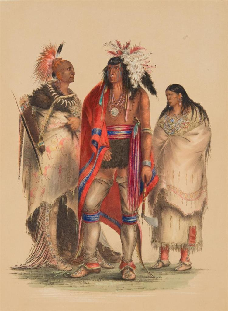 GEORGE CATLIN, (American, 1794-1872), NORTH AMERICAN INDIAN PORTFOLIO, 1844, twenty hand-colored lithographs, mounted on board, hand...