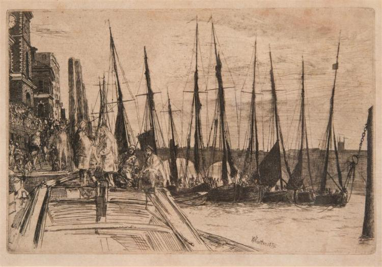 JAMES ABOTT MCNEILL WHISTLER, (American, 1834-1903), BILLINGSGATE, etching, plate: 5 7/8 x 9 in. (12 3/4 x 15 1/2 in.)