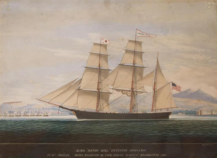 "RAFFAELE CORSINI, (Italian, 1830-1880), AMERICAN BARK ""HENRY HILL"" ENTERING SMYRNA BAY, 1856, watercolor and gouache on cardboard, s..."