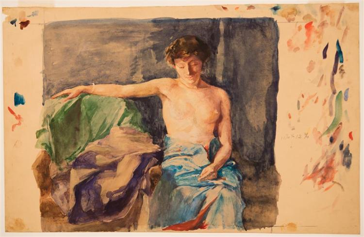 JOHN LA FARGE, (American, 1835-1910), GIRL WITH THE RING, 1890, watercolor on paper, sight: 11 1/4 x 12 1/2 in., sheet: 12 5/8 x 19...