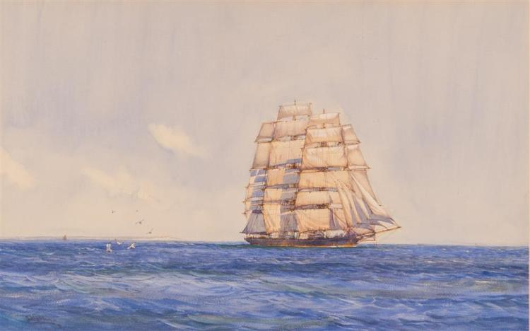 MONTAGUE DAWSON, (British, 1895-1973), A SUMMER DAY, watercolor on paper, sight: 16 x 25 1/2 in., sheet: 17 x 27 in. (frame: 26 1/2...