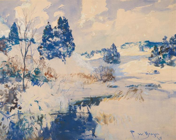 FRANK WESTON BENSON, (American, 1862-1951), WINTER HILLS, 1927, watercolor on paper, sight: 19 1/4 x 24 1/4 in. (30 1/2 x 36 1/2 in....