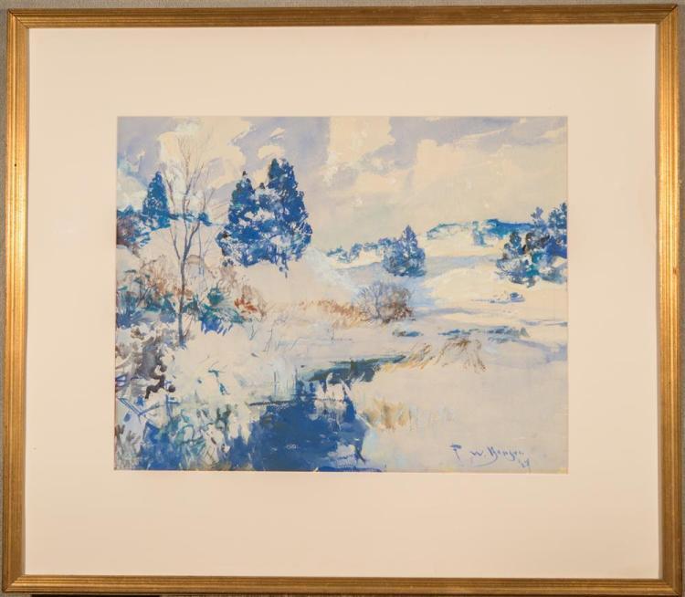 FRANK WESTON BENSON, (American, 1862-1951), WINTER HILLS, 1927, watercolor on paper, sight: 19 1/4 x 24 1/4 in. (30 1/2 x 36 1/2 in....