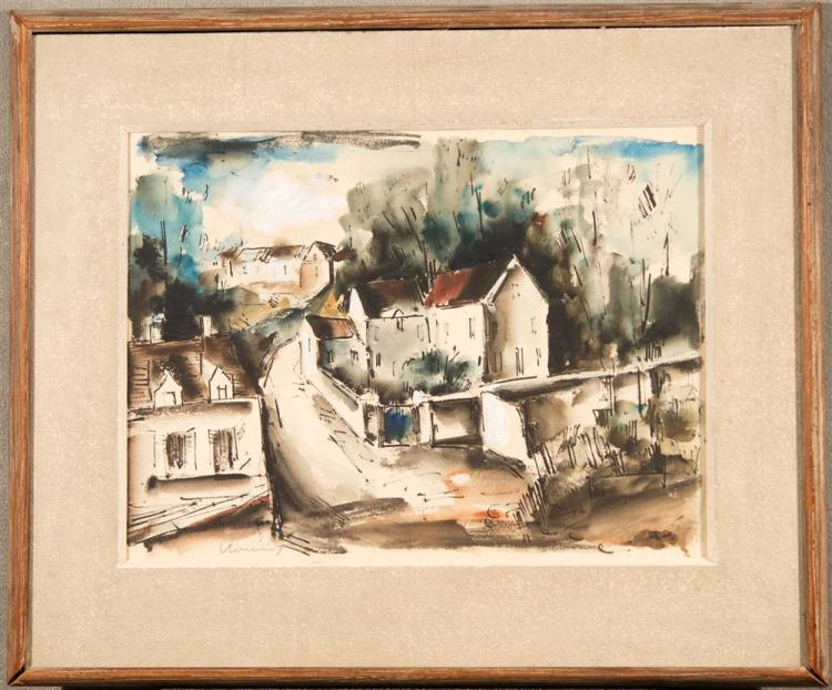 MAURICE de VLAMINCK, (French, 1876-1958), THE VILLAGE, watercolor on paper, sight: 15 1/2 x 20 1/2 in., sheet: 19 1/8 x 25 in. (24 1...