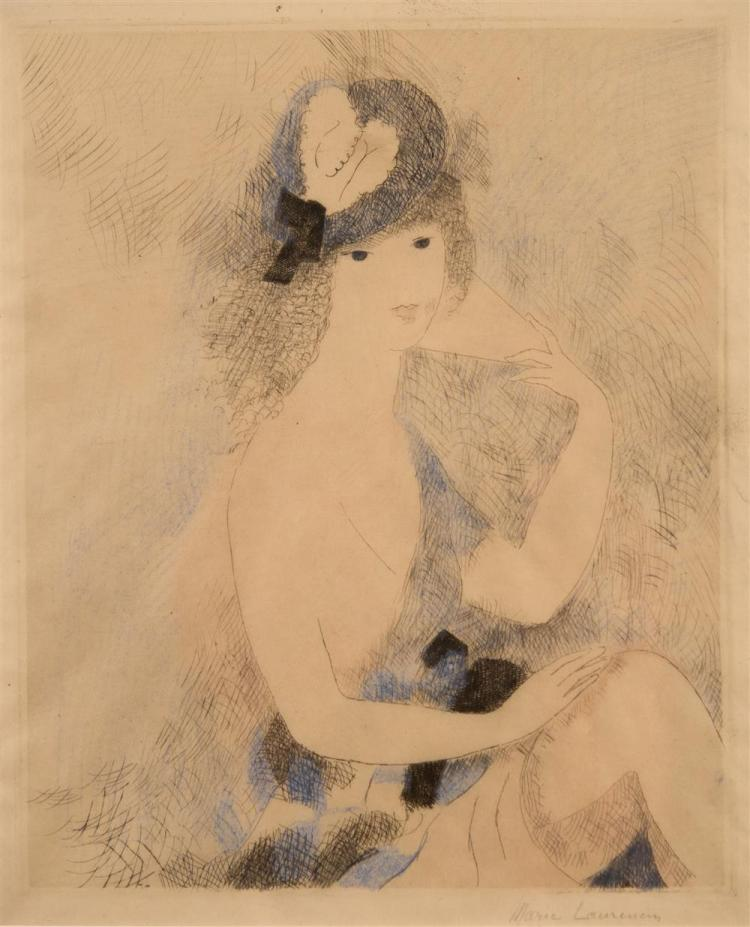 MARIE LAURENCIN, (French, 1885-1956), GIRL IN HAT, HOLDING A FAN, etching in color, plate: 11 1/2 x 9 1/2 in. (19 x 15 in.)