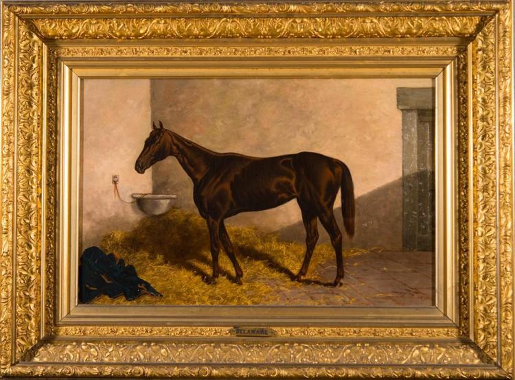 HENRY STULL, (American, 1851-1913), EQUESTRIAN PORTRAIT OF DELAWARE, 1890, oil on canvas, 18 x 28 in. (39 x 28 1/ 2 in.)
