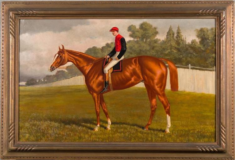HENRY STULL, (American, 1851-1913), EQUESTRIAN PORTRAIT OF BUSHRANGER, oil on canvas, 17 x 27 in. (21 1/4 x 31 1/2 in.)
